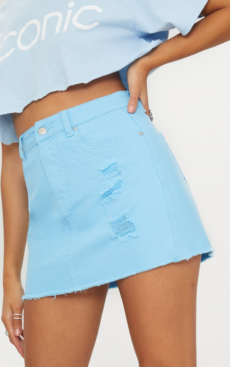 Baby Blue Distressed Denim Mini Skirt 6
