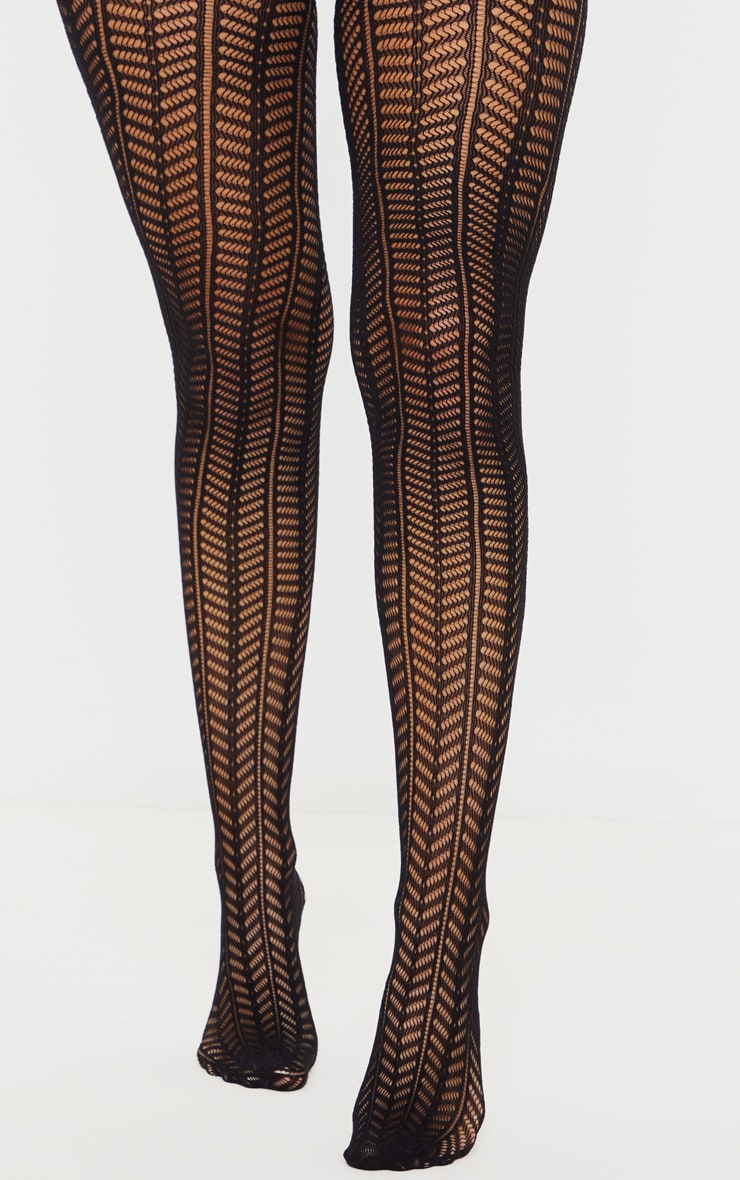 Black Knit Chevron Tights 1