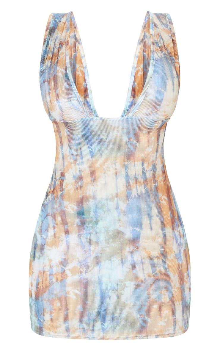 Multi Tie Dye Ribbed Deep Plunge Detail Bodycon Dress 5