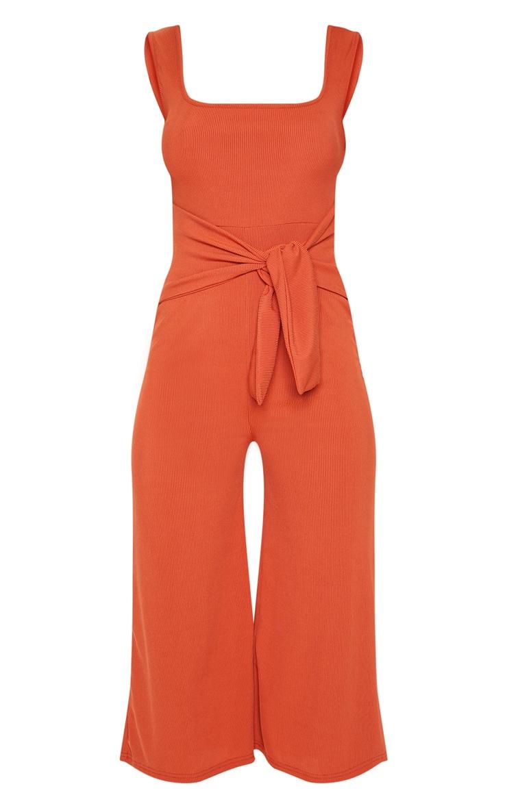 Rust Ribbed Tie Waist Culotte Jumpsuit 3