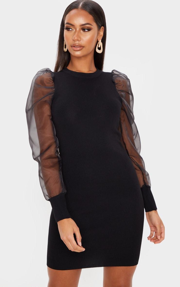 Black Organza Puff Sleeve Dress 1