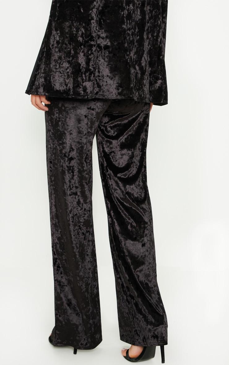 Black Crushed Velvet Wide Leg Pants 4