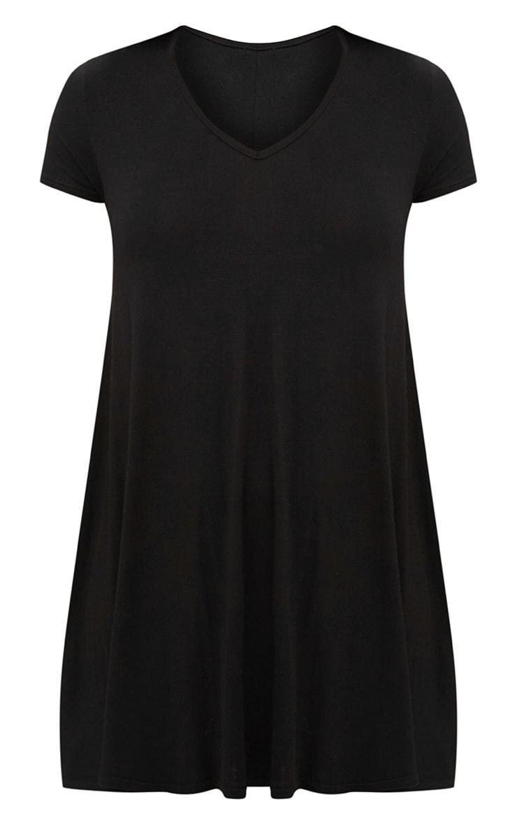 Black Cap Sleeve V Neckline Swing Dress 3