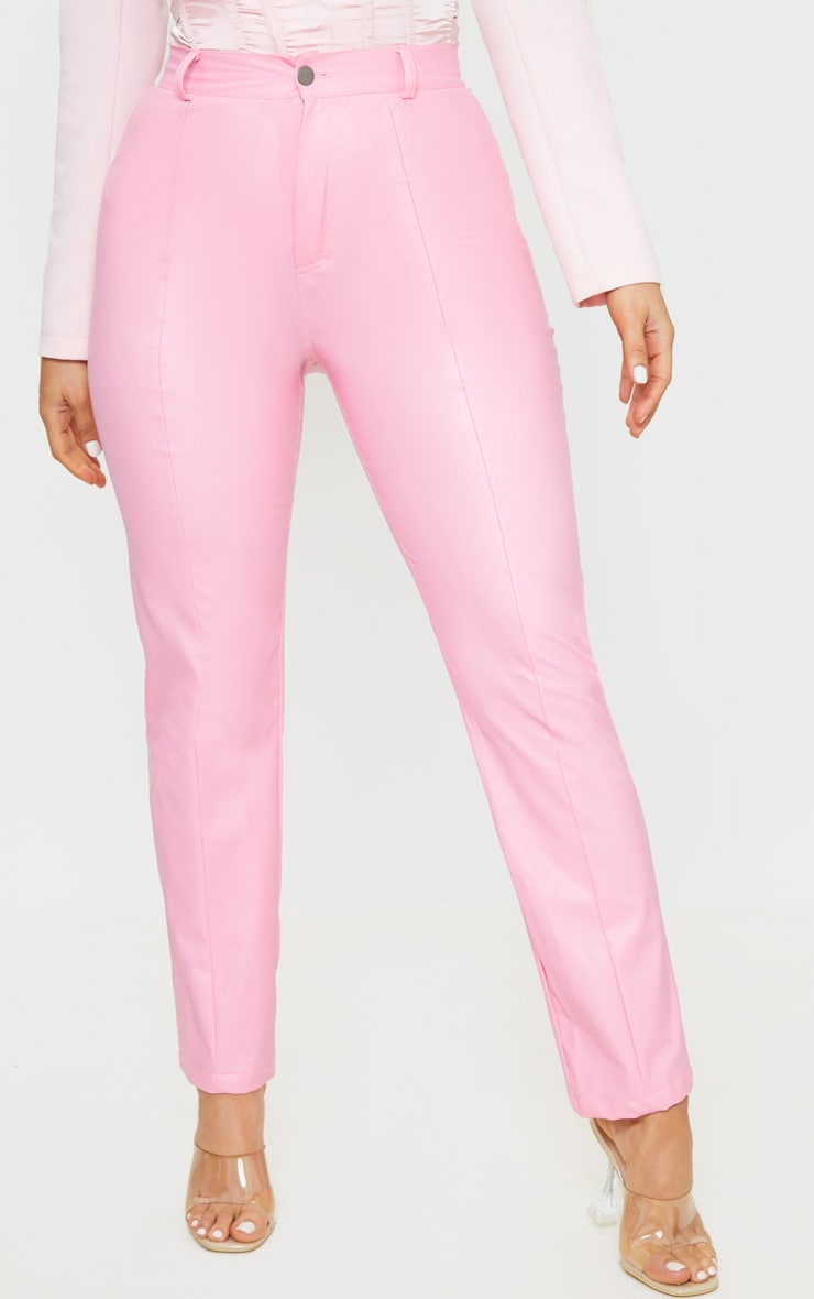 Pink Faux Leather Pintuck Skinny Trousers 3