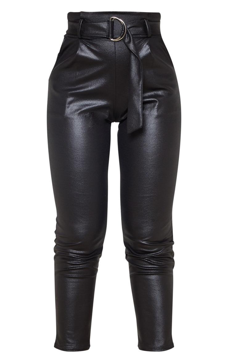 Black Wet Look D Ring Belted Skinny Pants 3