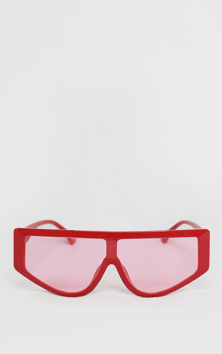 Red Straight Bar Oversized Sunglasses 1