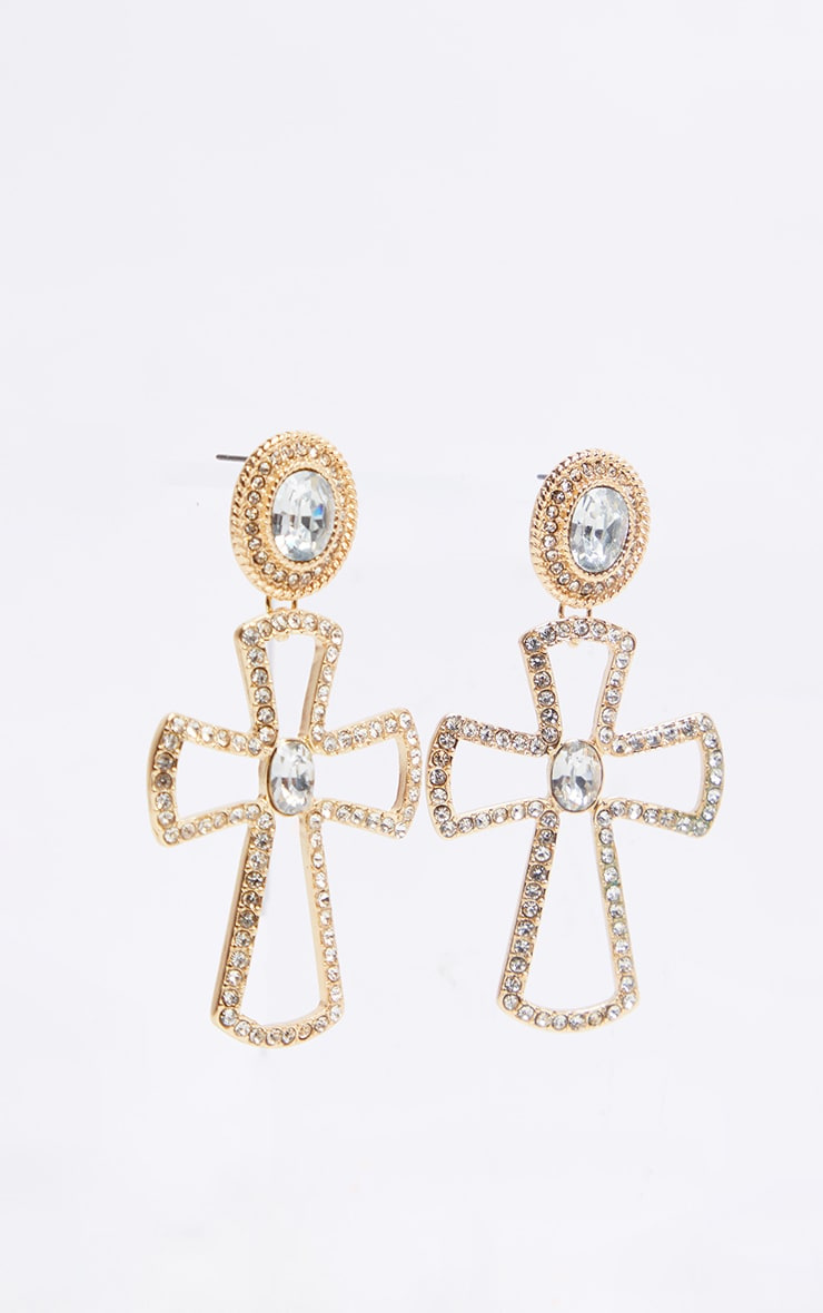 Gold Crystal Cross Earrings 4