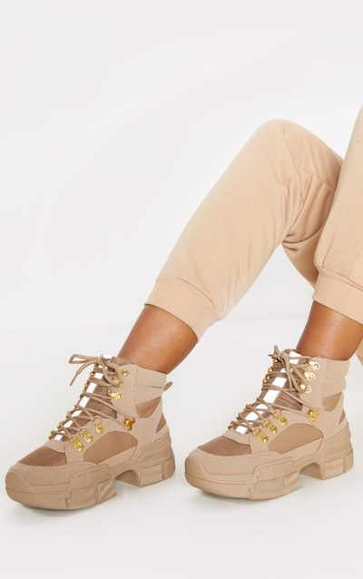 Tan Lace Up Cleated Sole Hiker Boot
