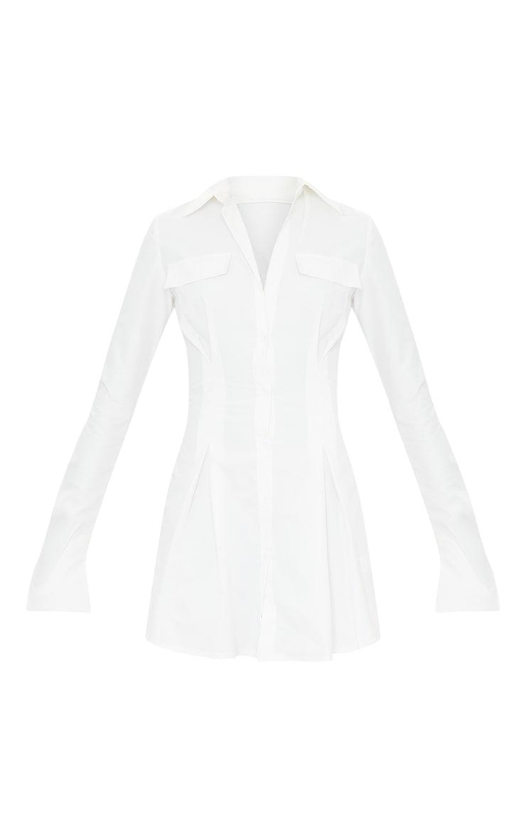 Tall - Robe chemise cintrée blanche à poches cargo 5