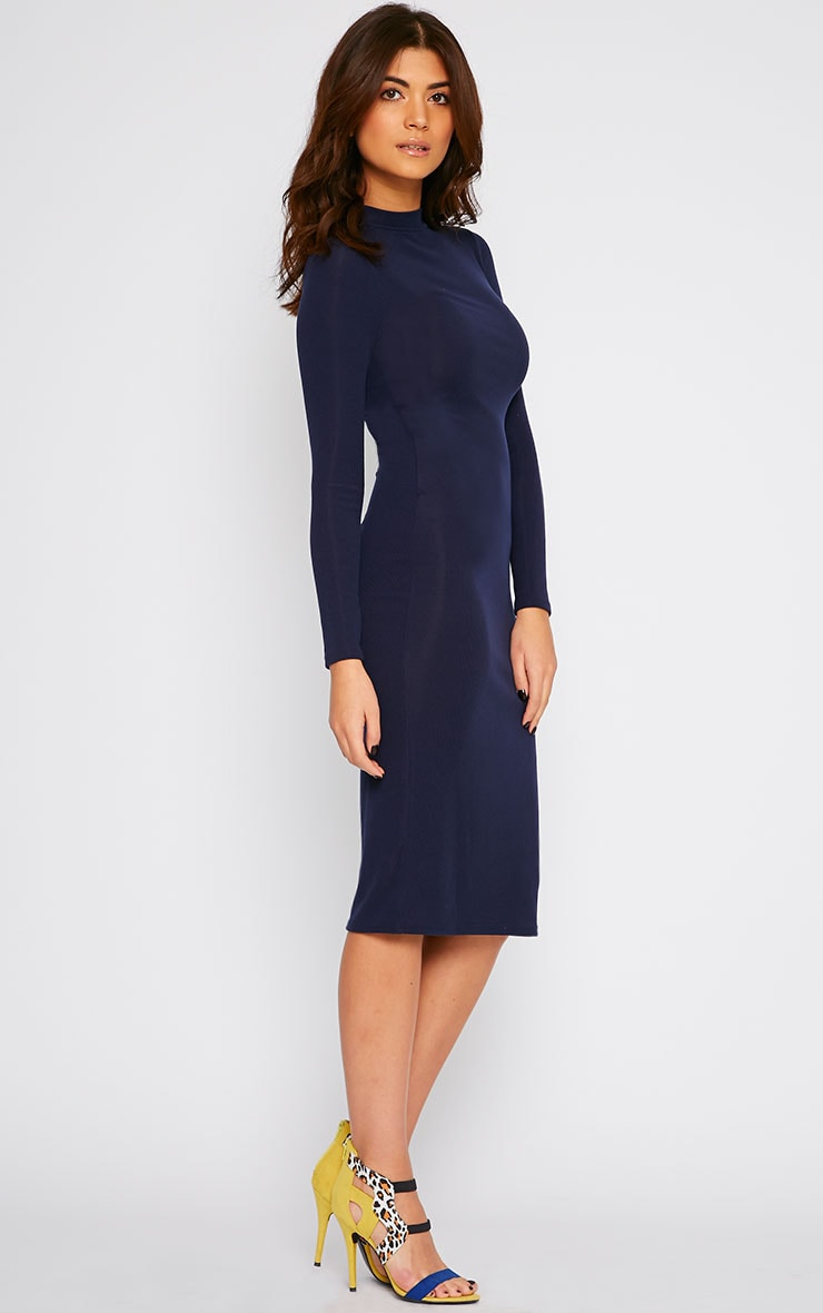 Basic Navy Ribbed Turtle Neck Midi Dress 3