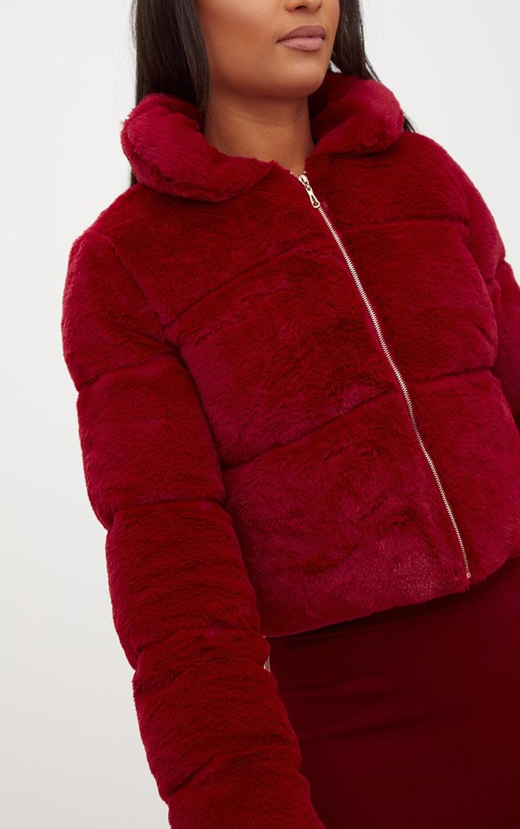 Burgundy Faux Fur Puffer Jacket 5
