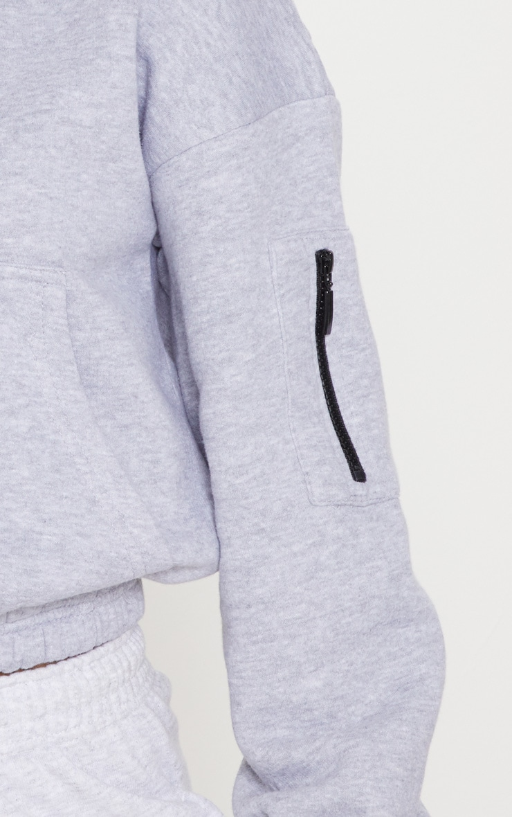 Grey Oversized Zip Front Sweatshirt 5