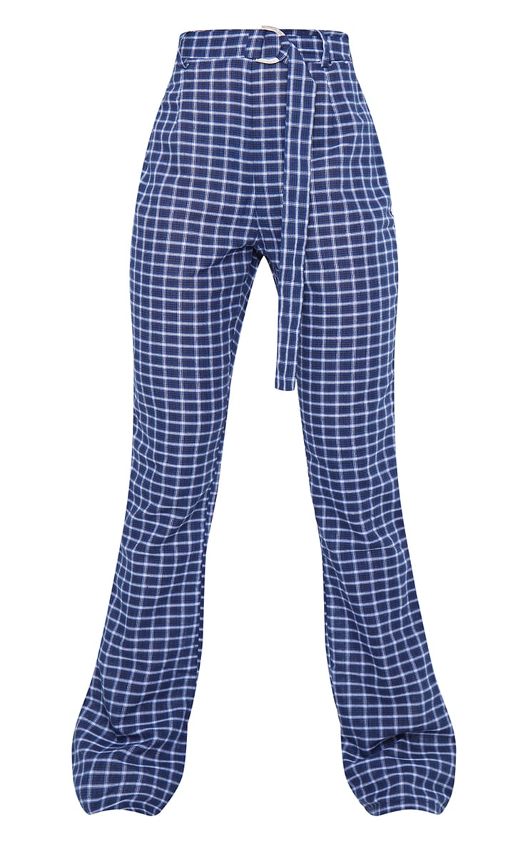 Blue Check Woven Belted Flared Trousers 5