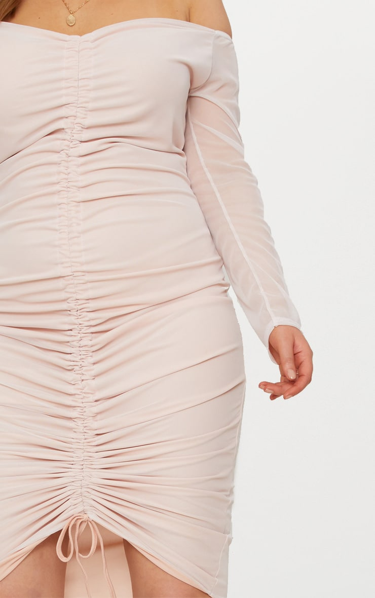 Plus Nude Mesh Ruched Bardot Midi Dress 5