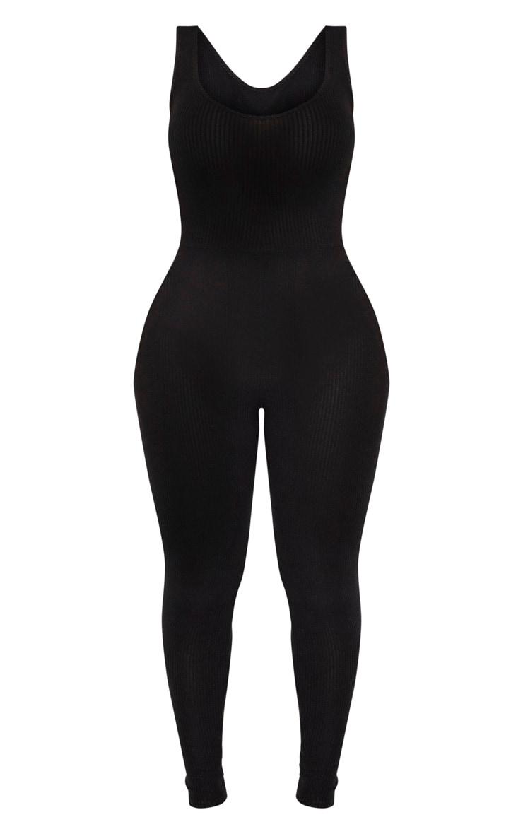 Shape Black Brushed Rib Scoop Neck Jumpsuit 3