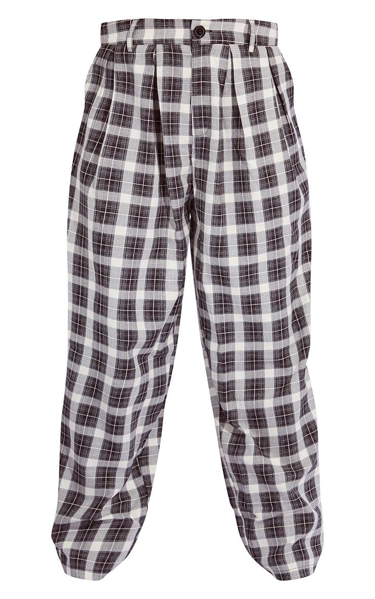 Black Check Print High Waist Balloon Pants 5
