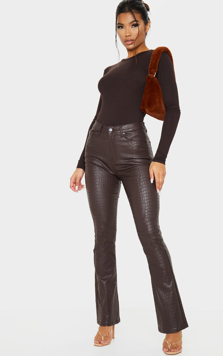Chocolate Brown Croc Coated Denim Flared Jeans