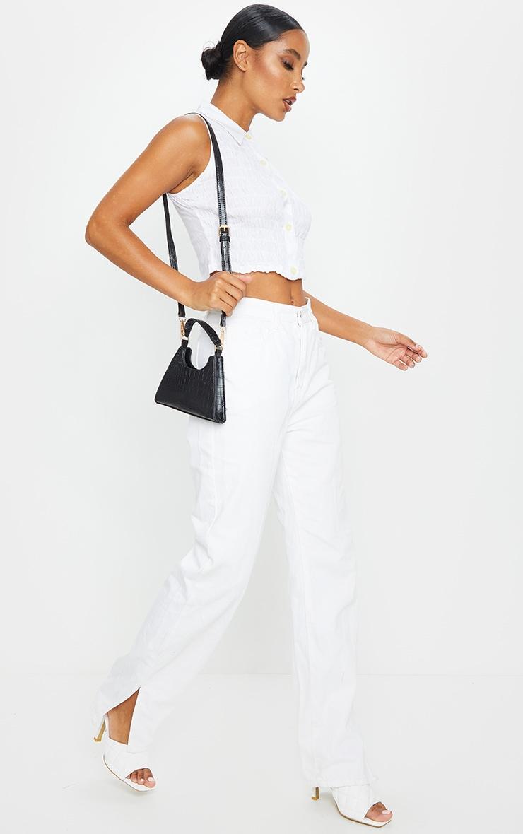 Chemise courte sans manches froncée en coton blanc 3