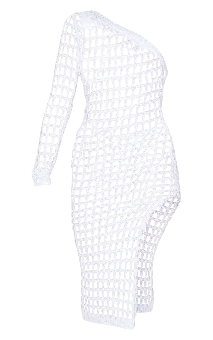 White Ladder Crochet Asymmetric Dress 6