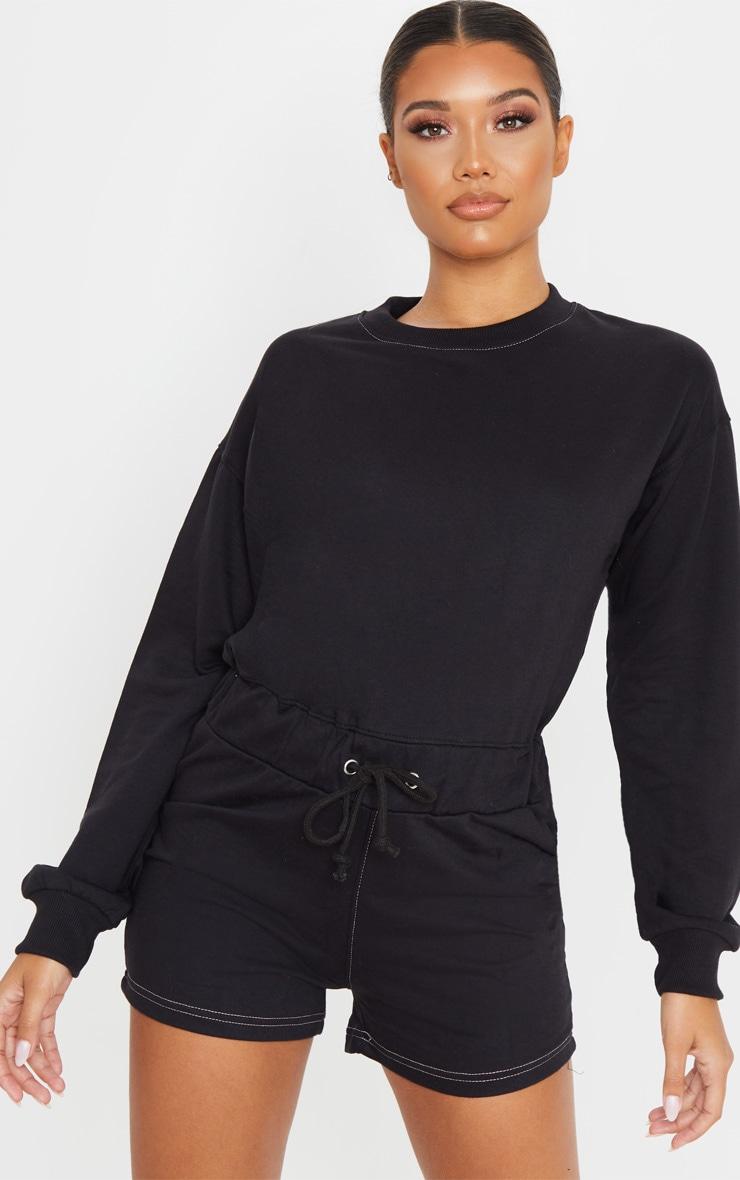 Combishort en sweat noir à manches longues et coutures contrastantes 4