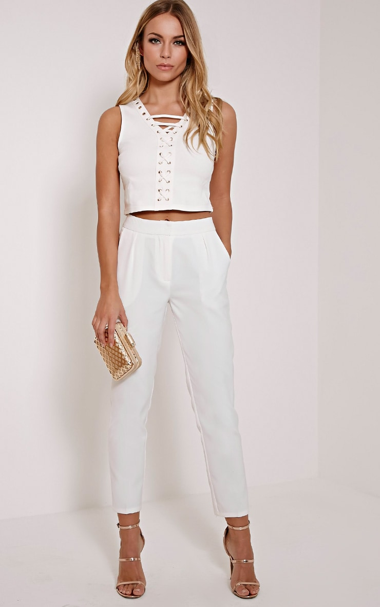 Remy Cream Cigarette Trousers 1