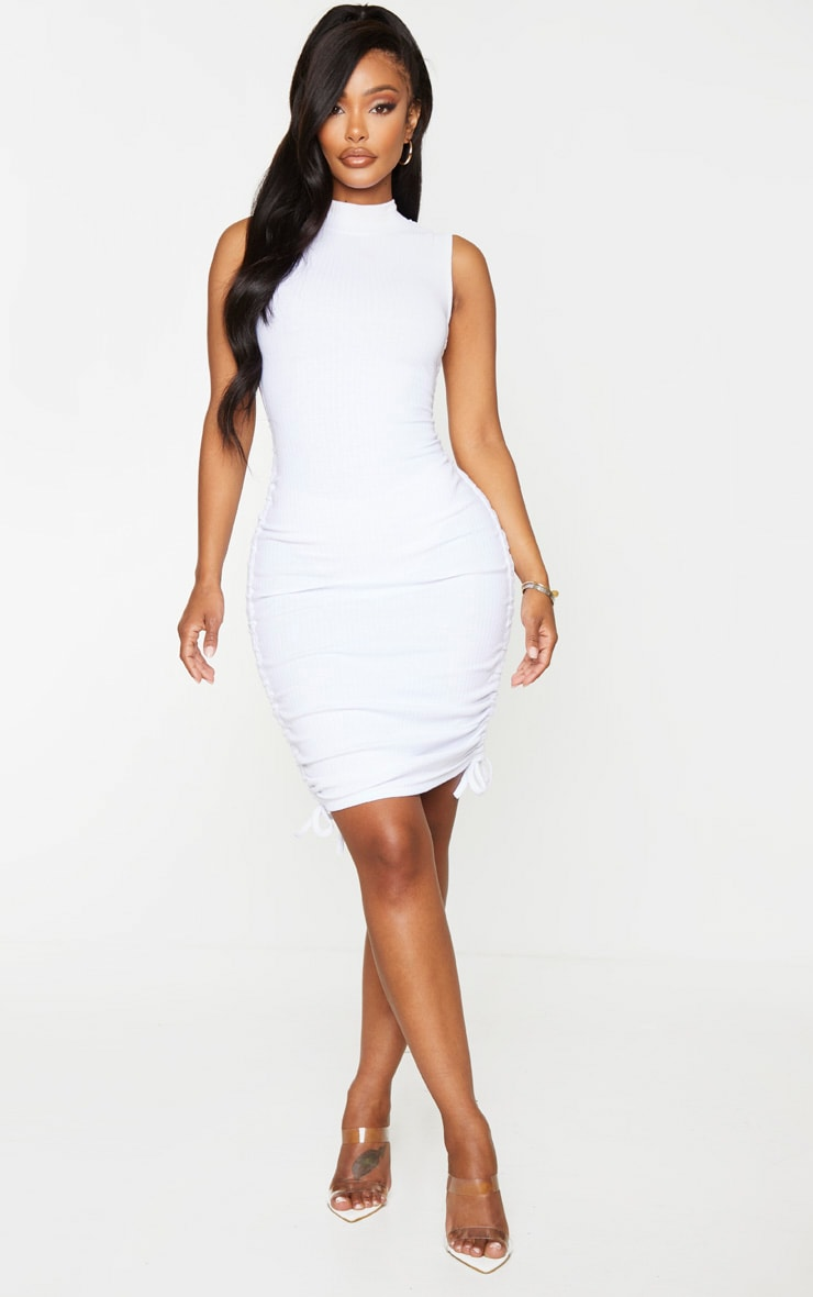 Shape White Thick Rib Ruched Side Sleeveless Bodycon Dress 4