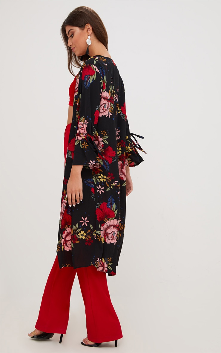 Black Floral Tie Sleeve Kimono Jacket 2