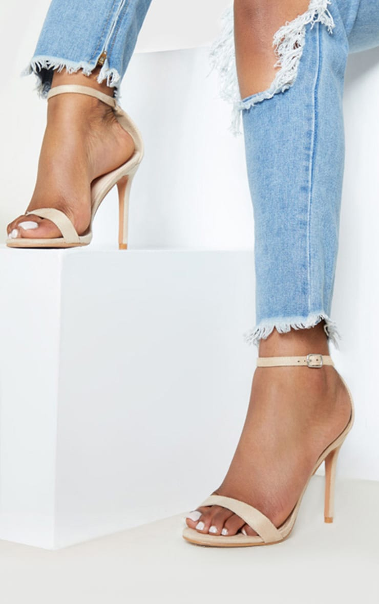 Nude Wide Fit Single Strap Heeled Sandal 1