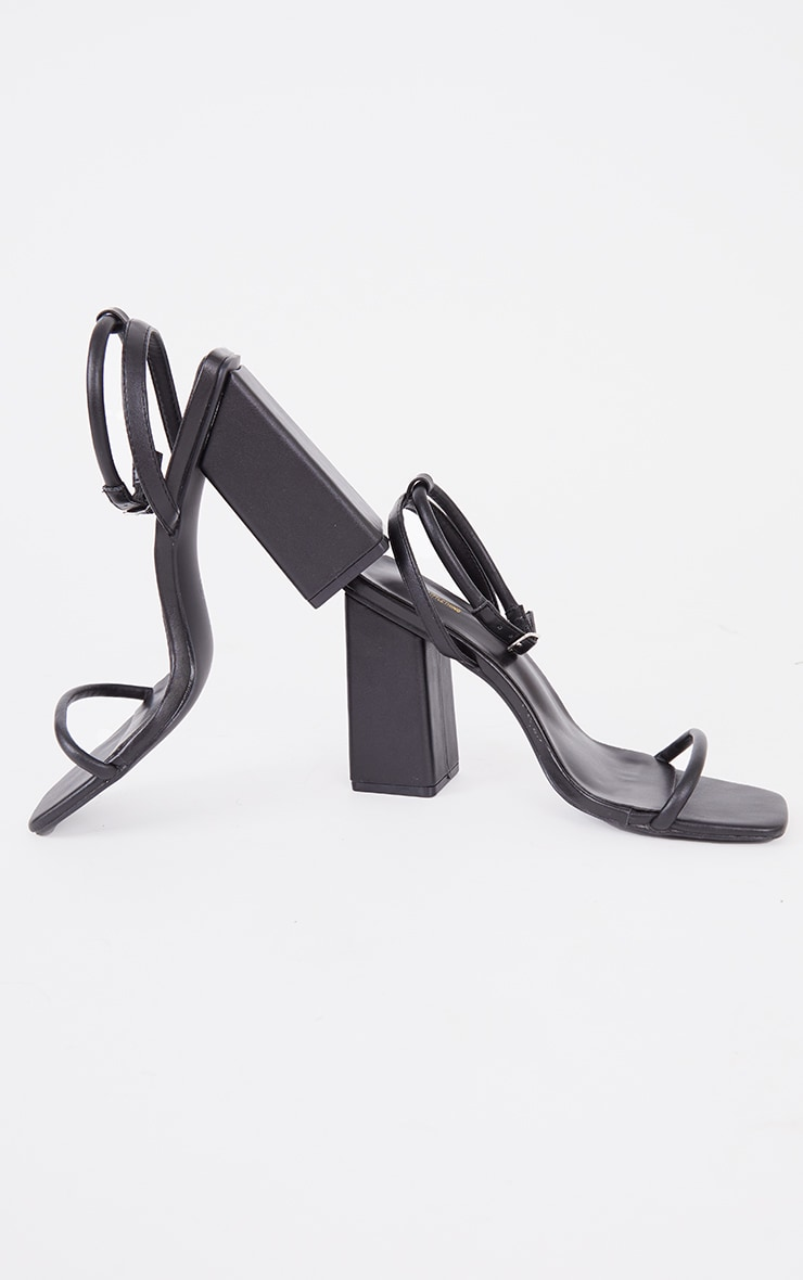 Black Barely There Block Heeled Sandals 4