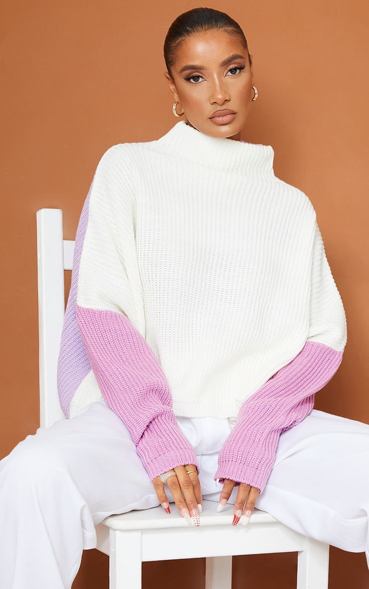 Lilac Oversized Color Block Sweater 1