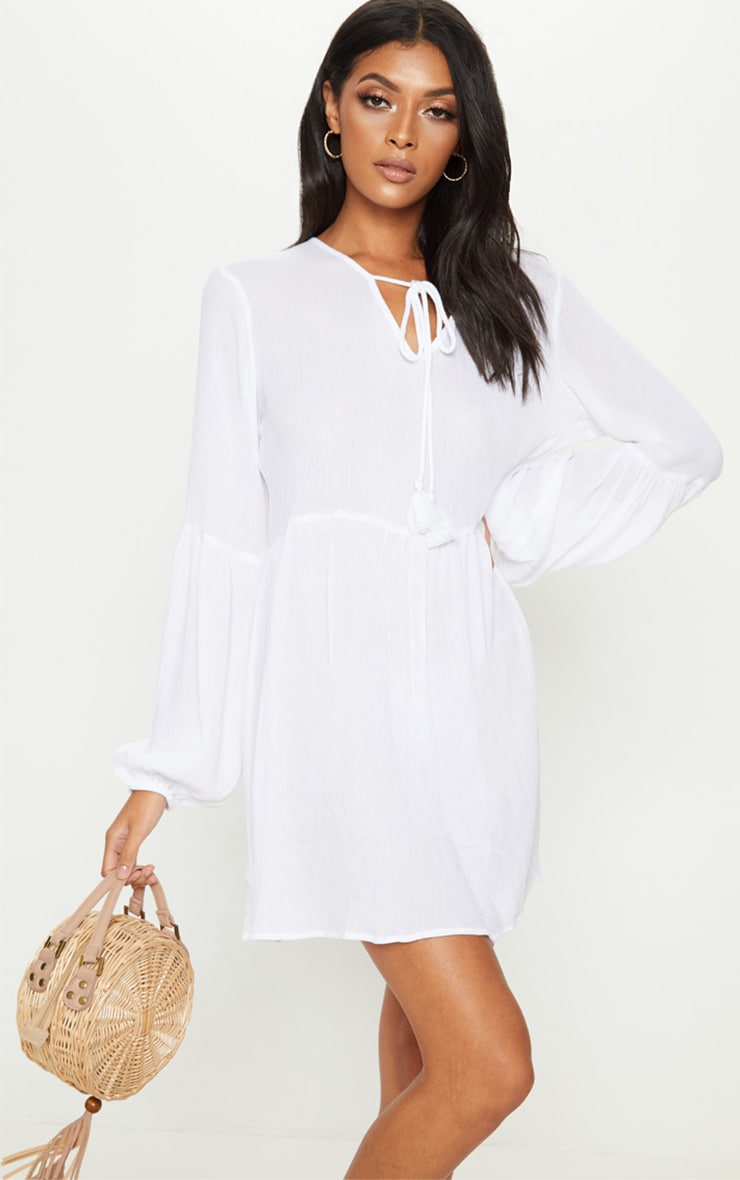 White Puff Sleeve Tie Detail Smock Dress 1