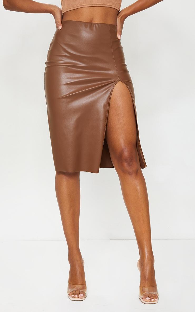 Camel Faux Leather Split Detail Midi Skirt 2