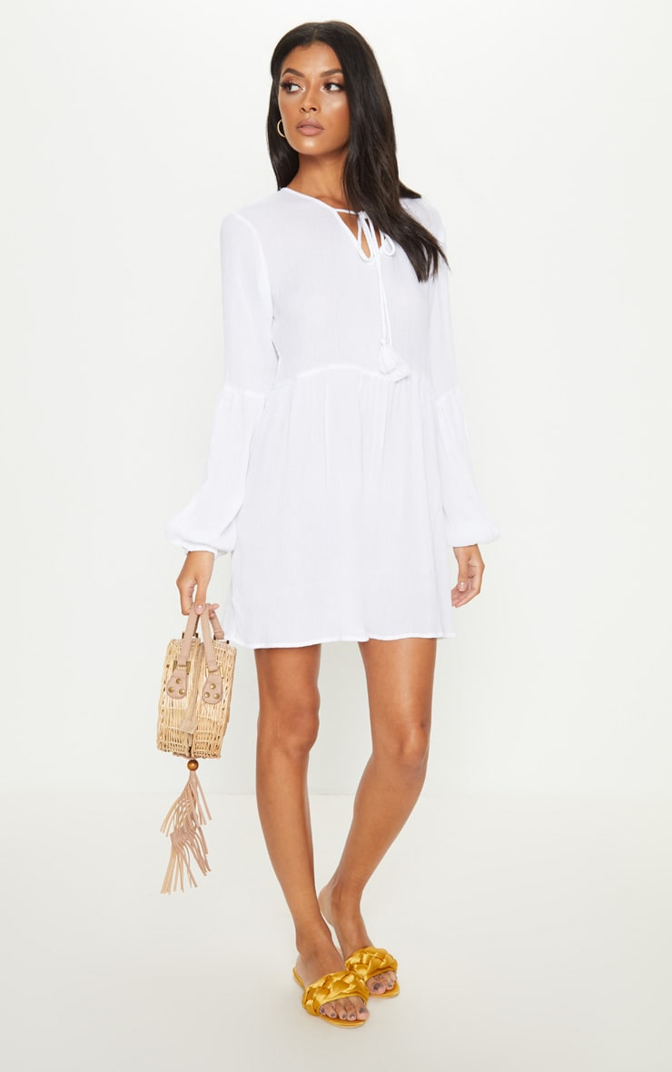 White Puff Sleeve Tie Detail Smock Dress 4