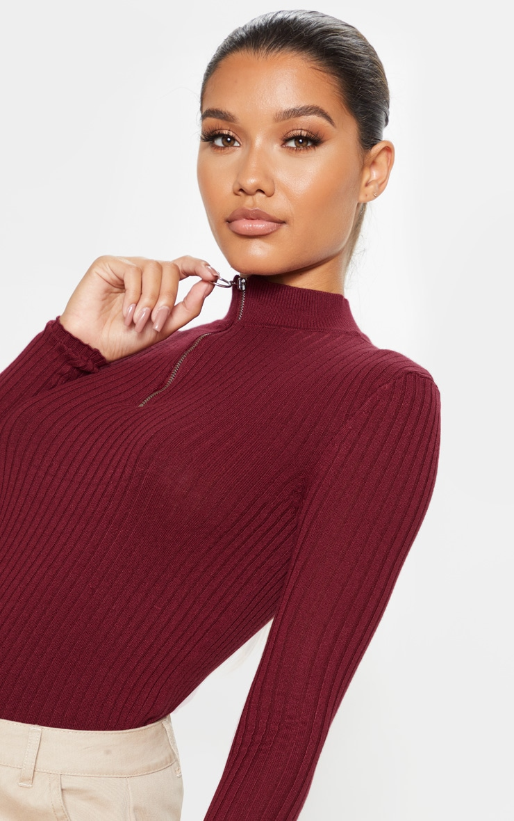 Wine Zip Front Knitted Rib Top 5