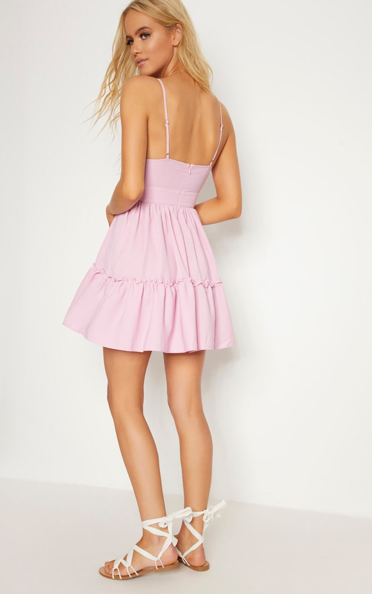 Lilac Ruched Frill Detail Strappy Skater Dress 2