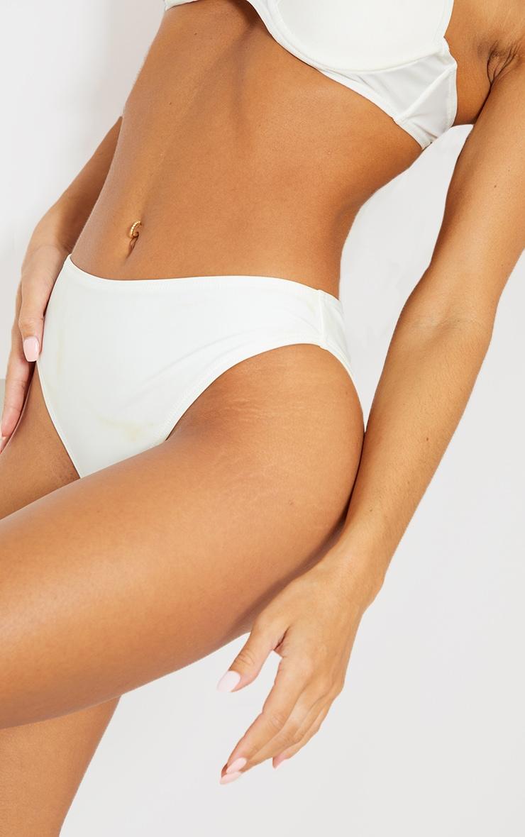 White Mix & Match Recycled Fabric Cheeky Bum Bikini Bottom 4