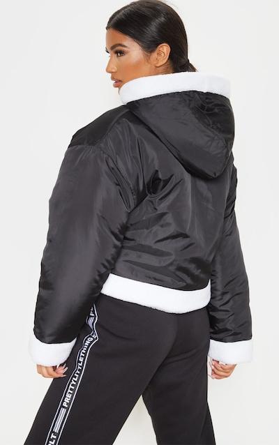 Black Borg Trim Cropped Hooded Jacket