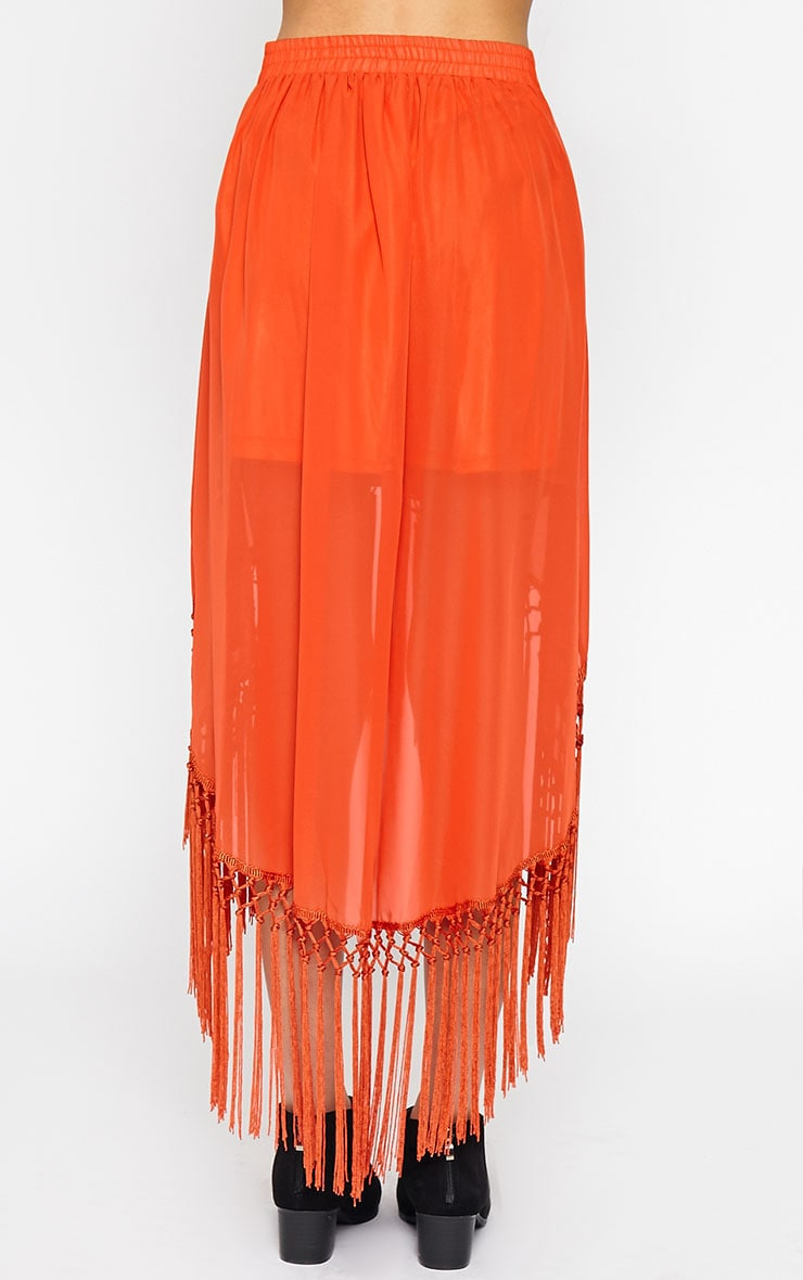 Sonja Orange Wrap Tassel Midi Skirt 3