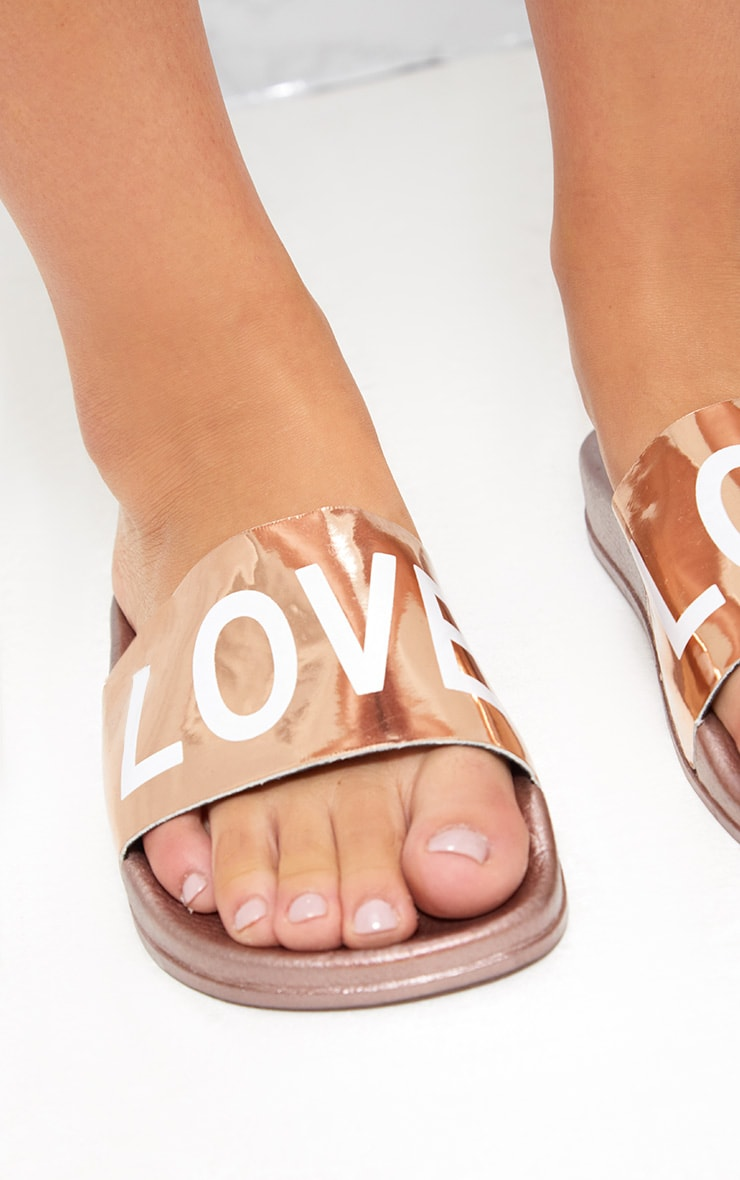 Rose Gold Metallic LOVE Sliders 5