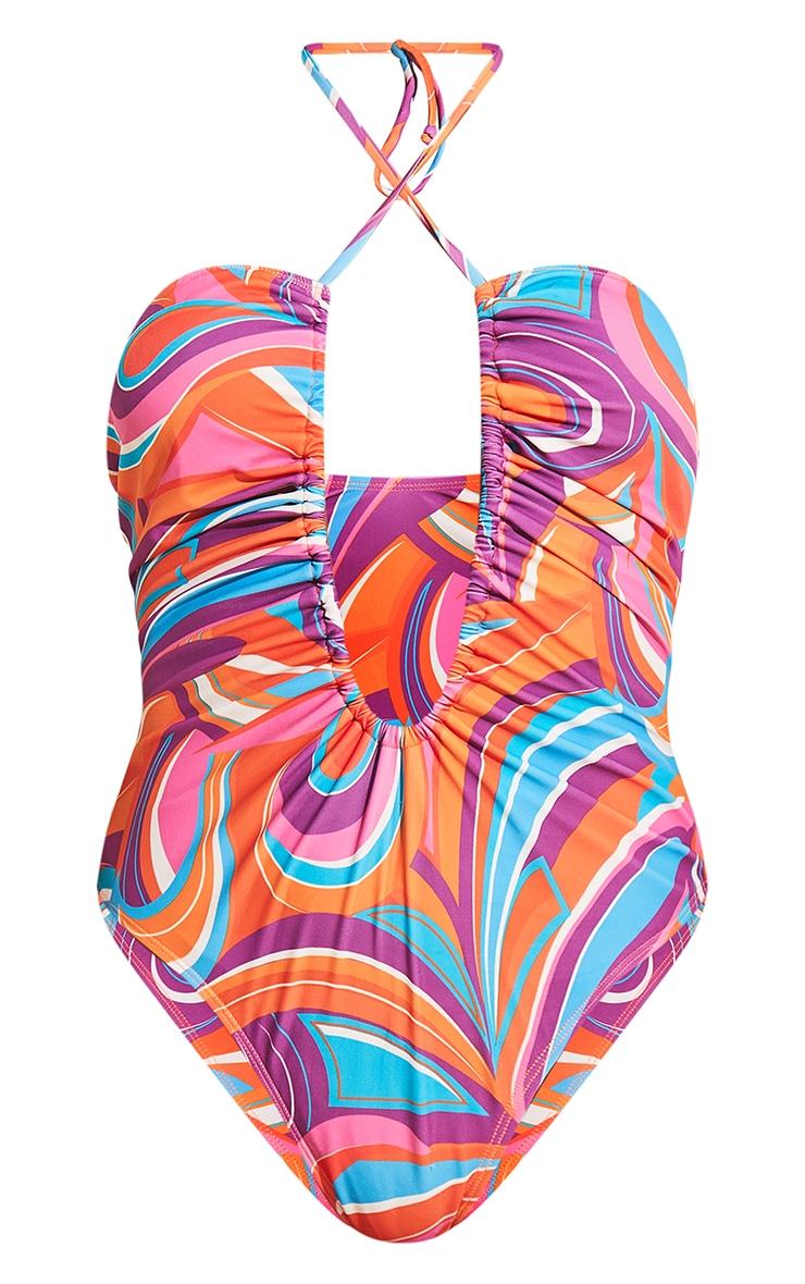 Pink Print Halterneck Ruched Swimsuit 8