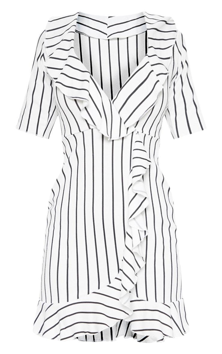 White Stripe Frill Detail Wrap Dress 3