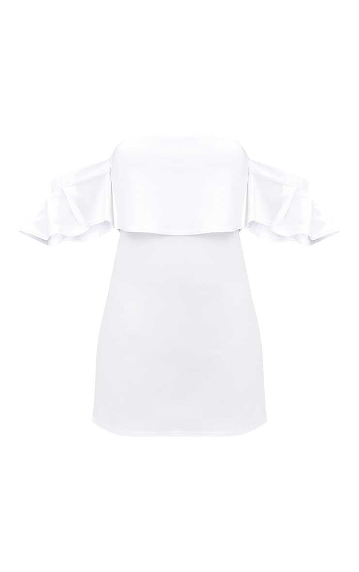 White Ruffle Sleeve Overlayer Bardot Bodycon Dress 3