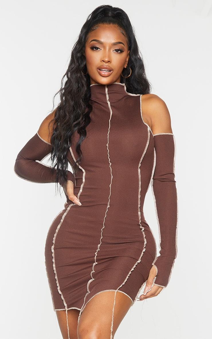 Shape Chocolate Brown Rib Overlock Seam Thumb Hole Bodycon Dress 1