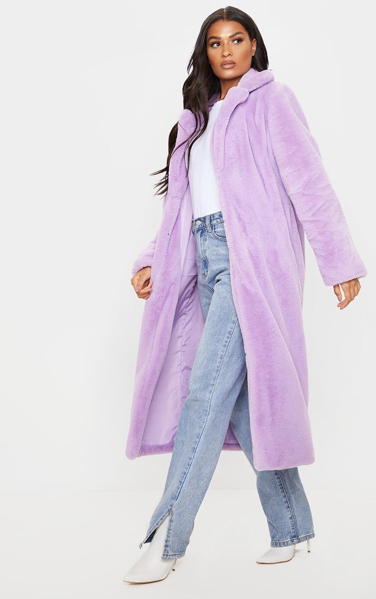 Lilac Maxi Faux Fur Coat 4