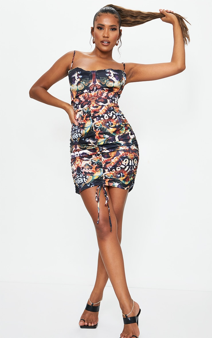 Multi Snake Print Satin Ruched Skirt Cowl Neck Bodycon Dress 3