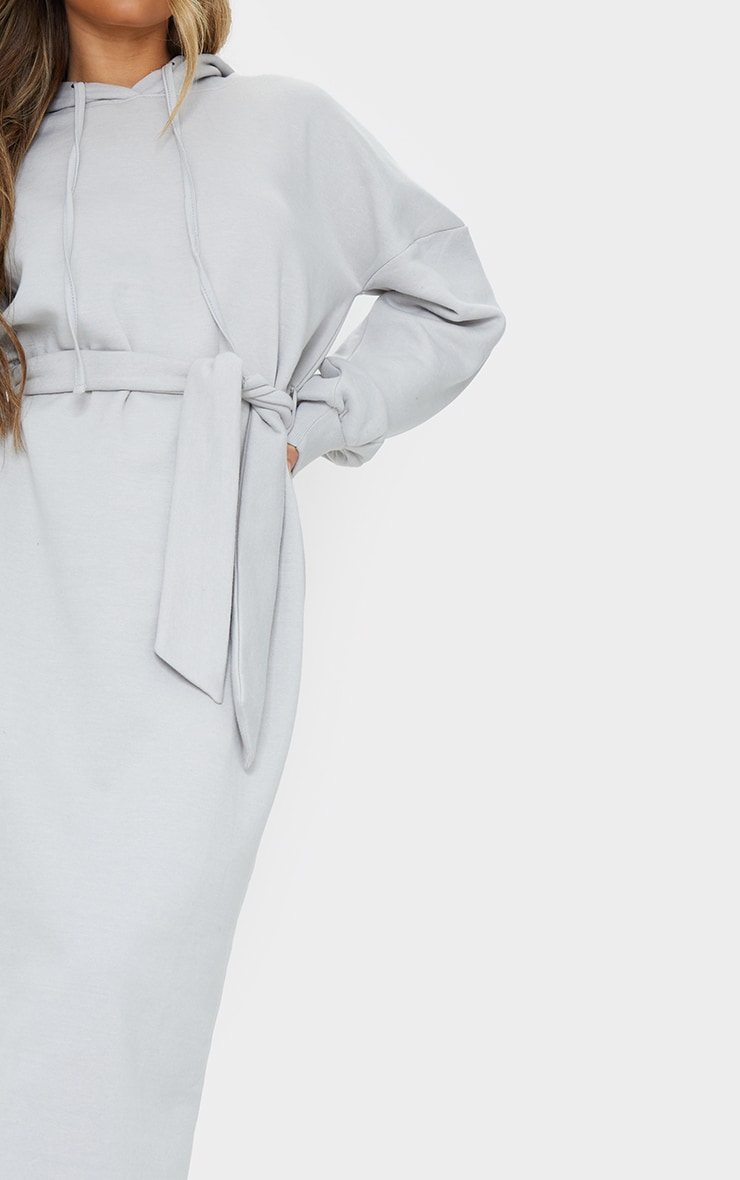 Grey Waist Tie Long Sleeve Midi Sweat Jumper Dress 4