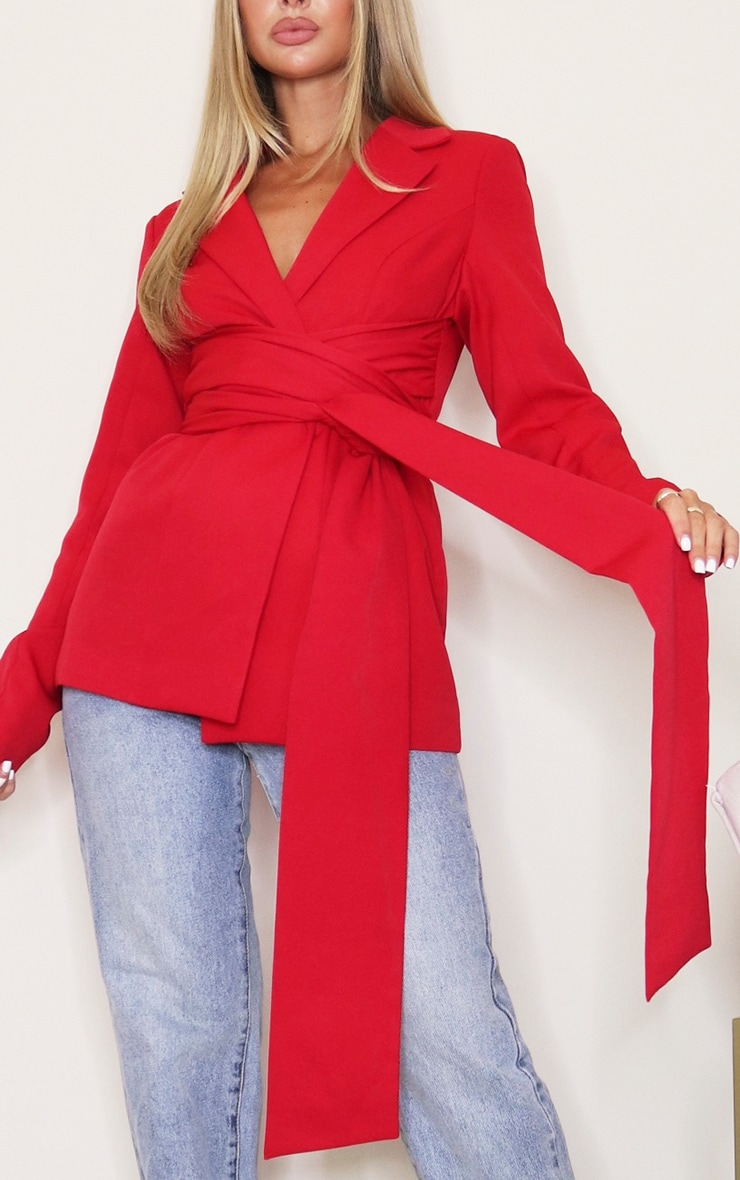 Red Woven Wrap Around Belted Fitted Blazer 4