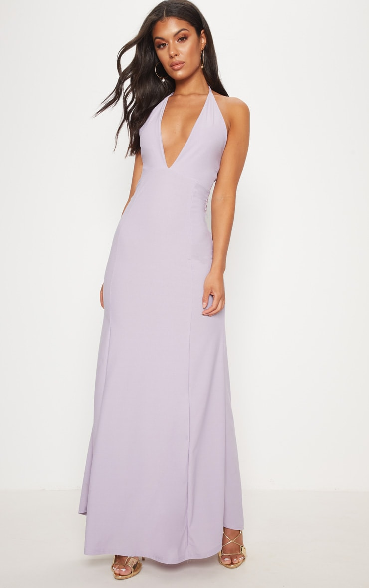 Lilac Halterneck Fishtail Maxi Dress 1