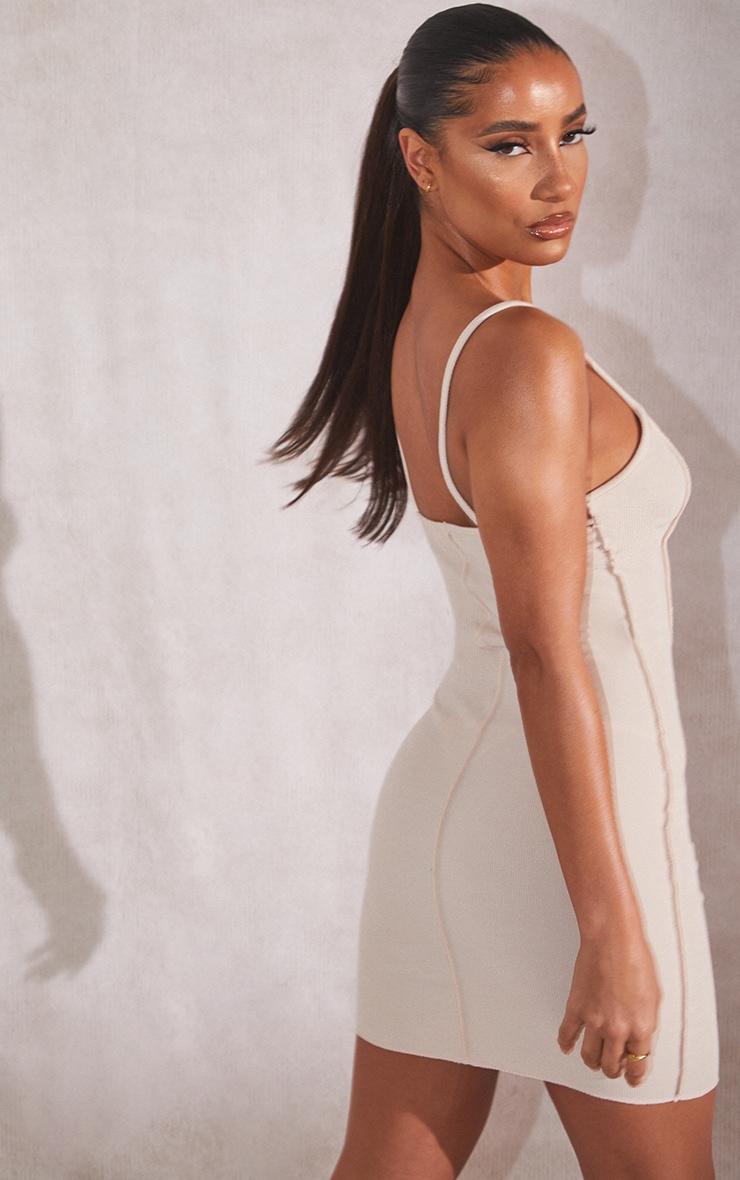 Recycled Beige Rib Raw Seam Strappy Bodycon Dress 3