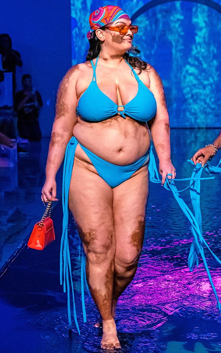 Plus Blue High Leg Tassel Side Bikini Bottoms 1